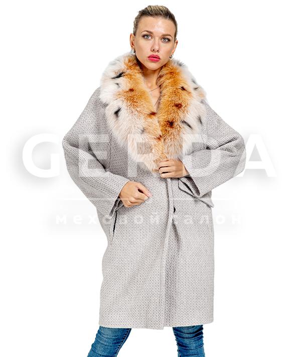 """Пальто шерстяное с мехом """"Майами"""" серое-рысь"""