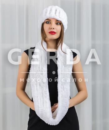 """Меховой шарф и повязка """"Тина"""" белые"""