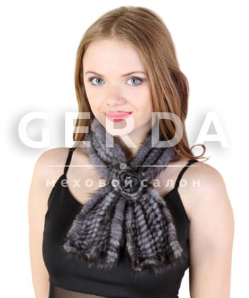 "Норковый шарф ""Роза"" серый"