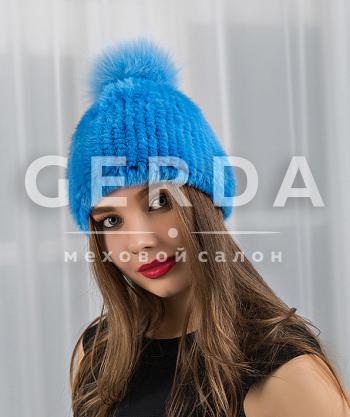 "Норковая шапка ""Джерси"" голубая"
