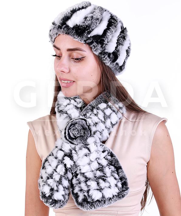 """Комплект повязка и шарф из кролика """"Нежность и Вита"""" серо-белый"""