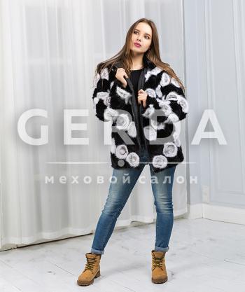"""Куртка из вязаной норки """"Хлоя"""" черно-белая"""