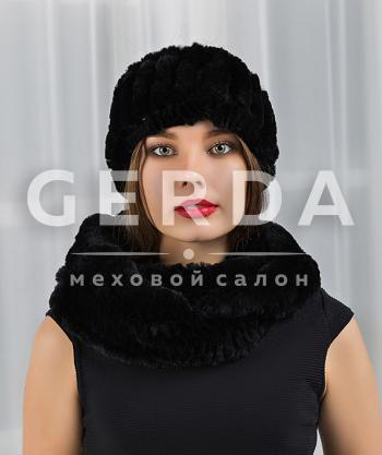 """Шарф из меха с повязкой """"Тина"""" черный"""