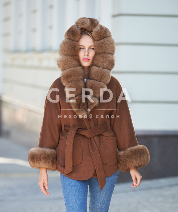 """Пальто с мехом """"Вика"""" карамель"""