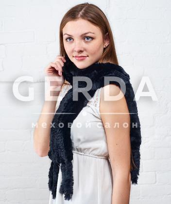 """Меховой шарф из кролика """"Лада"""" черный"""