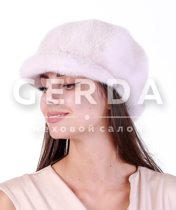 """Норковая кепка """"Лесли"""" крем/белая"""