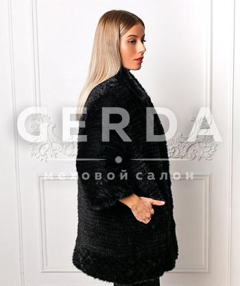 """Пальто из вязаной норки """"Ярослава"""" черная"""