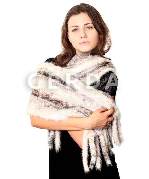 """Норковый шарф """"Бэлла"""" крестовка"""