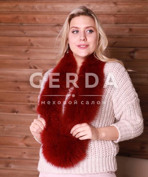 Меховой шарф-хомут красный
