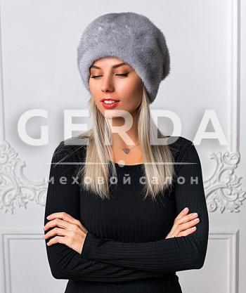 """Норковая шапка """"Лилия"""" серая"""