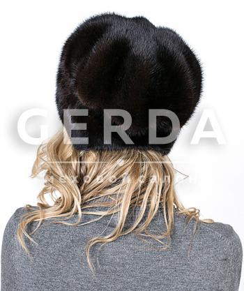 "Норковая шапка ""Лилия"" махагон"