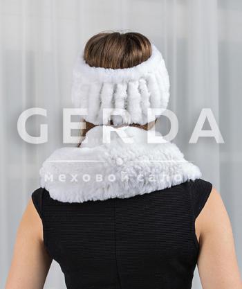 Меховой шарф и повязка белый