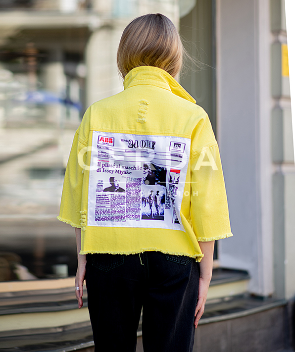 Джинсовая Рубашка Пресса Желтая