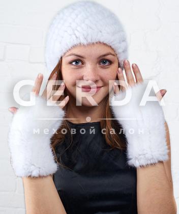 """Комплект из норки вязаной """"Блеск+Имидж"""" белый"""