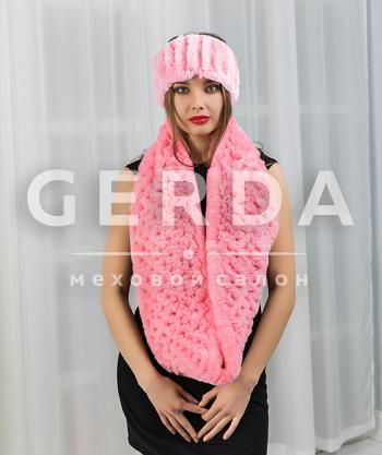 """Меховой шарф хомут и повязка """"Тина"""" зефир"""