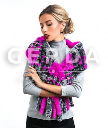 """Меховой шарф """"Лада"""" серо-розовый"""