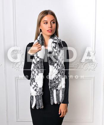 """Меховой шарф """"Лада"""" серо-белый"""