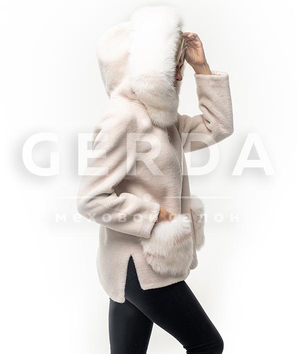 Шуба тедди с капюшоном белая