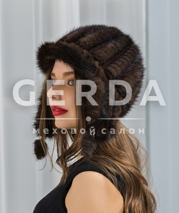 "Норковая шапка ""Панна"" махагон"