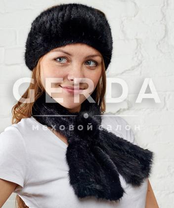 """Комплект меховой """"Роза+Лорель"""" черный"""