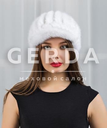 """Шапка из вязаной норки """"Гера"""" белая"""