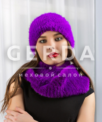 Норковая повязка на голову фиолет