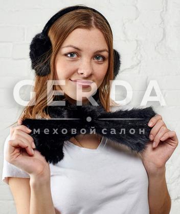 """Норковый комплект """"Ушки+Роза"""" черный"""