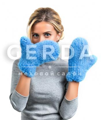 "Варежки из норки ""Сати"" голубые"