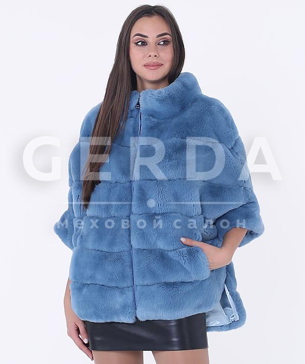 """Меховой свитер """"Марта"""" василек"""