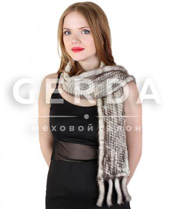 """Норковый шарф """"Лив"""" сильвер"""