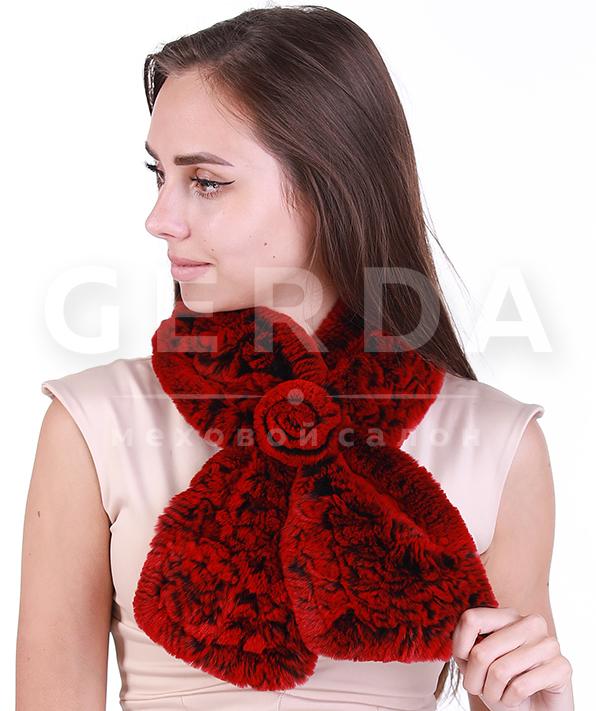 """Меховой шарф """"Нежность"""" красный"""