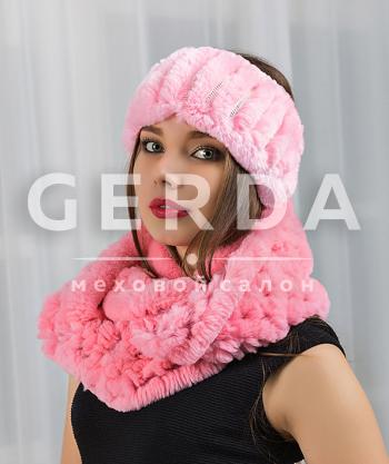 Меховой шарф хомут и повязка розовые