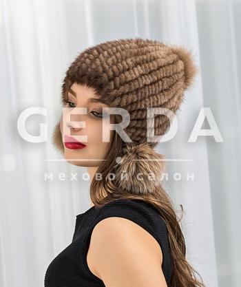 """Норковая шапка """"Лоя"""" орех"""