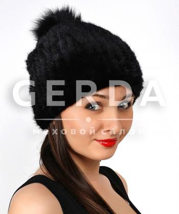 """Норковая шапка """"Джерси"""" черная"""