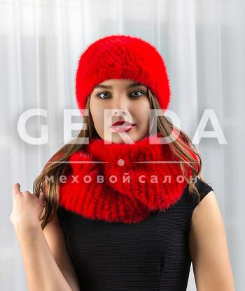 Меховая повязка на голову красная