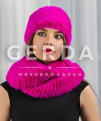 """Норковый шарф-хомут и повязка """"Креста"""" фуксия"""