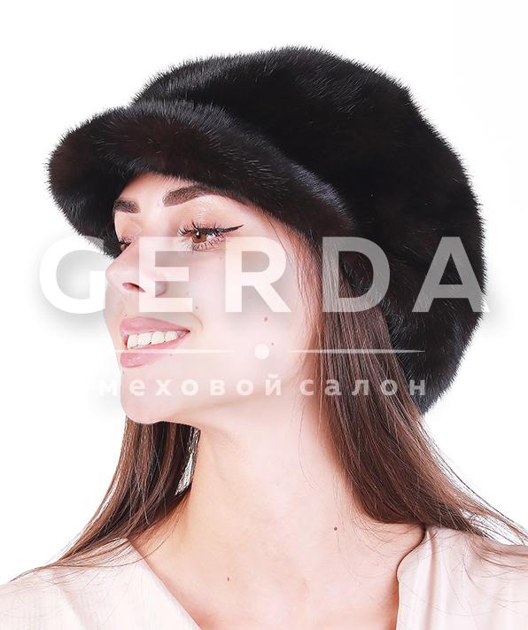 "Норковая шапка кепка ""Лесли"" махагон/черный"