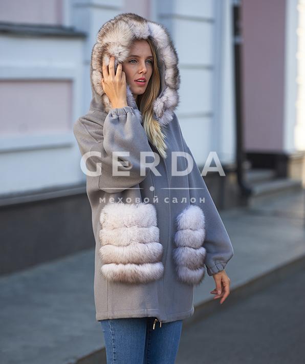 """Пальто с мехом """"Ирис"""" дымка-лед"""