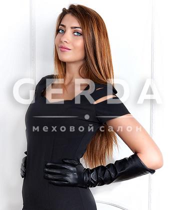 Длинные кожаные перчатки черные