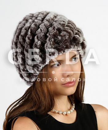 """Вязаная шапка из кролика """"Соня"""" коричневая"""