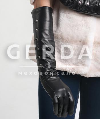 Кожаные перчатки длинные женские