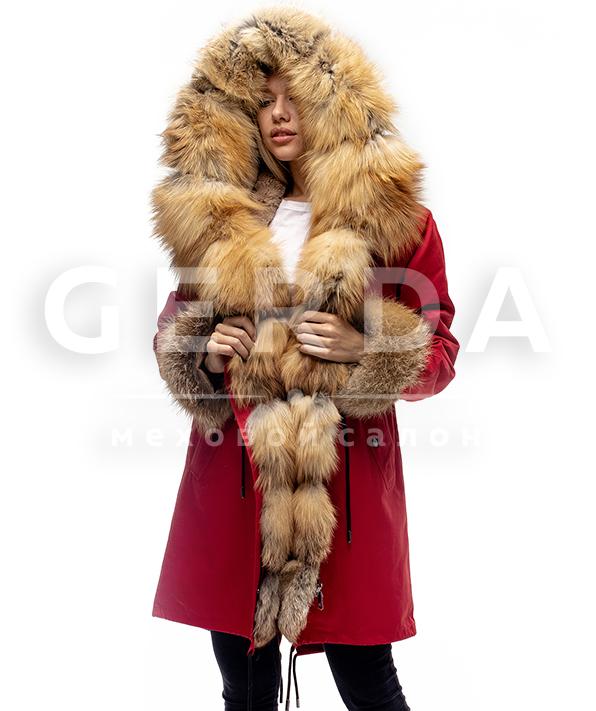 """Парка с мехом лисы """"Сюзанна"""" красная"""