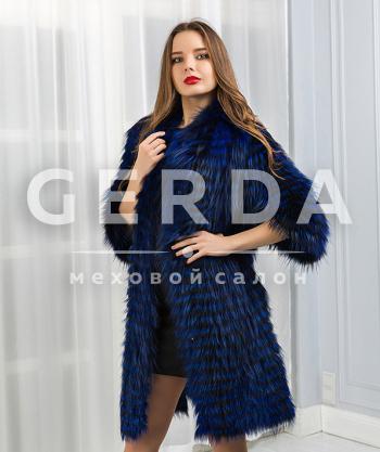 """Пальто из меха чернобурки """"Николь"""" лазурь"""