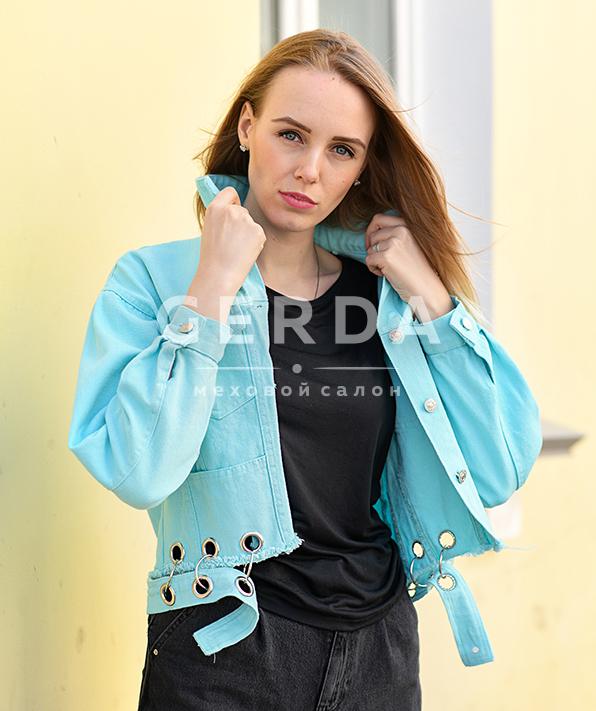 Джинсовая куртка с кольцами Пирсинг Бирюза