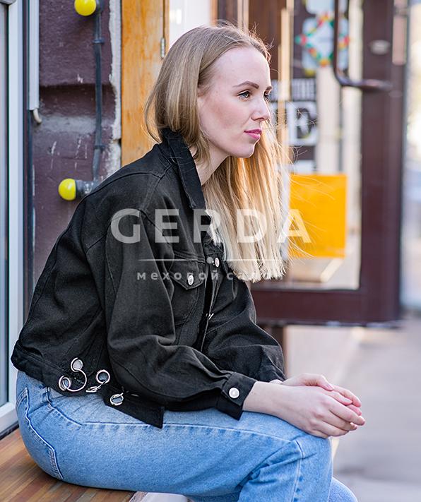 Джинсовая куртка с кольцами Пирсинг Блэк
