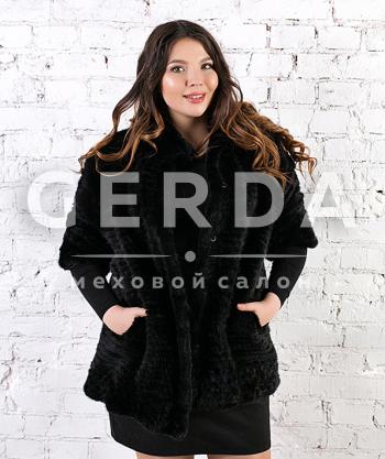 """Пальто из норки до 52 размера """"Ярослава"""" черная"""