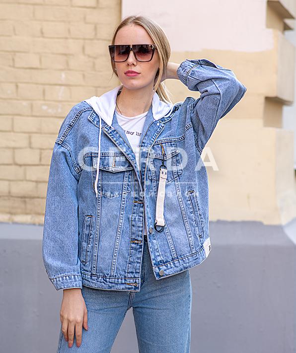 Джинсовая куртка с капюшоном Классика синяя