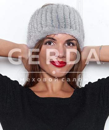 """Повязка на голову из норки """"Лорель"""" серая"""