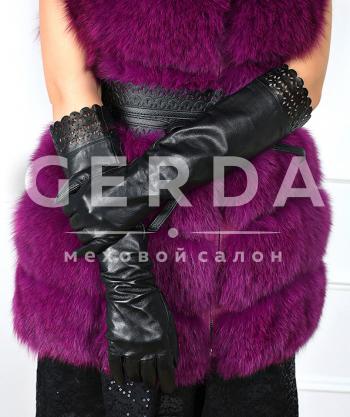 """Длинные кожаные перчатки """"Флёр"""" черные"""
