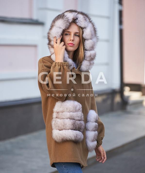 """Пальто с мехом """"Ирис"""" кэмел-лед"""